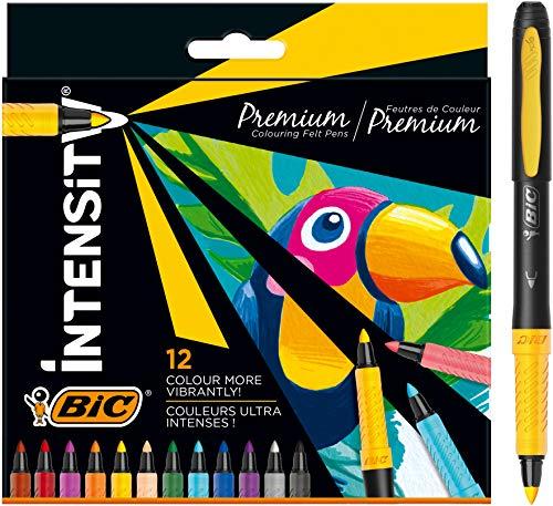 BIC Intensity Premium Rotuladores para Colorear con Cuerpo Negro y Cómodo Grip de Goma - Varios Colores, Pack de12