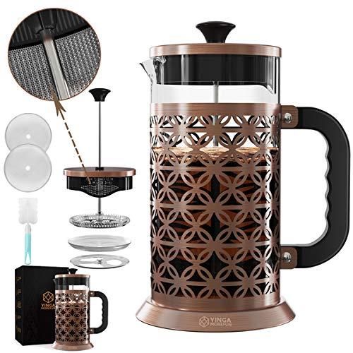 フレンチプレスコーヒーメーカー 34オンス クラシックデザイン 5レベルアップグレード 精密3D織りフィルタースクリーン ステンレススチール 耐熱ホウケイ酸ガラスコーヒープレス ダブルフィルターアウトレット 食器洗い機使用可 100%BPAフリー