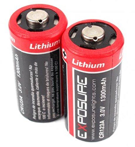 Exposition CR123 A Piles au lithium jetables (Paire) 3.0 V 1300 mAh