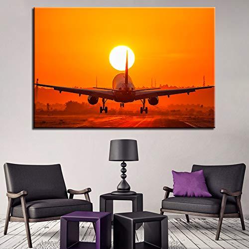 XCMHXY canvasdruk drukposter decoratie 1 stuk vliegtuig zonsondergang landschapsschilderij muurkunst afbeelding woonkamer frame