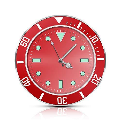 """Autouhr Analog Beleuchtet, FORNORM Auto Armaturenbrett Uhr Auto Innen Uhr mit Batterie Auto Innendekoration Uhr, 5 * 5 * 1cm/1.97 * 1.97 * 0.39"""", Rot"""