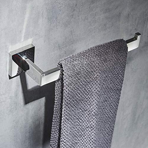 Beelee BA19905C - Porta asciugamani cromato lucido, montaggio a parete, acciaio inox SUS 304, design a braccio aperto, barra singola