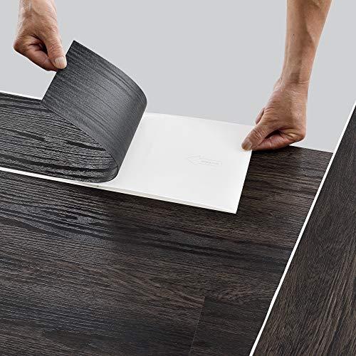neu.holz Bodenbelag Selbstklebend 5,85 m² 'Dark Wood Wenge' Vinyl Laminat 42 rutschfeste Dekor-Dielen für Fußbodenheizung