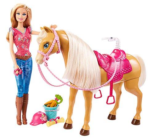 Mattel Barbie BJX85 - Fütter- und Schmusespaß Tawny, Puppe mit Pferd