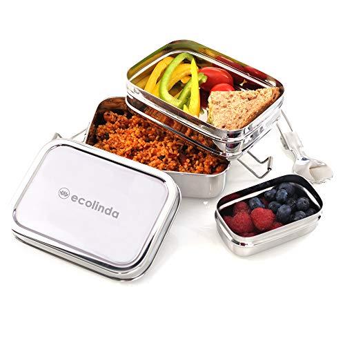 ecolinda®️ Edelstahl Brotdose Rio 3in1 | plastikfreie 3-teilige Premium Lunchbox mit Fächern unterteilt | BPA-freie Bento Box, ideal für Kinder und Erwachsene | Lunchbox mit Besteck
