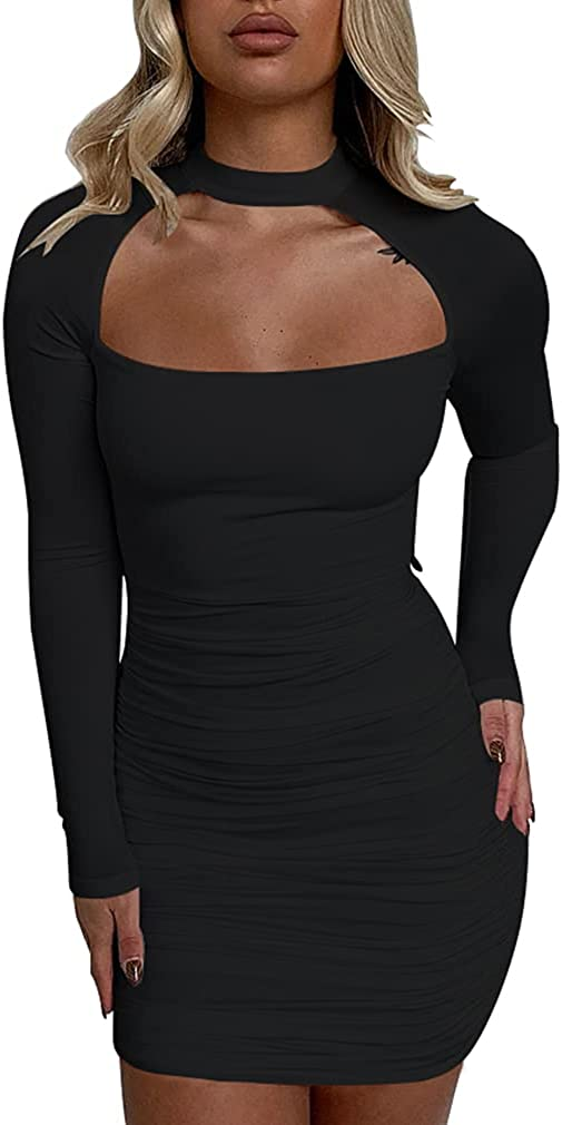 ZileZile Women's Sexy Bodycon Long Sleeve Cut Out Ruched Club Party Mini Dress