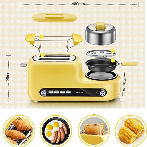 Kitchen Toaster 5 In 1, Toaster 2er 1080 (W), Mit Antihaftbeschichteter Pfanne Und Edelstahl-Dampfgarer, Mit 6-Gang-Temperaturregelung, Herausziehbare KrüMelschublade, Mit StaubschutzhüLle,Yellow