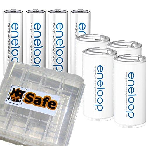 kQ 4er Panasonic Eneloop AA Akkus + 4er eneloop Adapter auf Baby C und kQ-flash Box