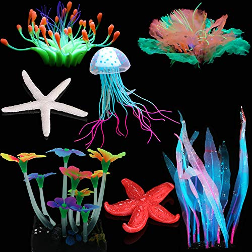 SunKni 7 Pcs Glow Fish Tank Decorations Plants Aquarium Decor Silicone Artificial Jellyfish Coral Waterweeds Sea Anemone Kelp Mushroom Lotus Coconut Tree Glofish Accessories & Resin Starfish (NO.1)