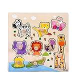 jieGREAT 9 pièces Puzzle en Bois Puzzle Animal Apprentissage précoce bébé Enfants...