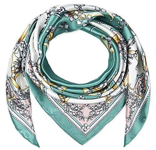 Corciova 35quot Women Polyester Silk Feeling Bell Orchid Dark Cyan Hair Scarf for Sleeping