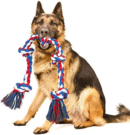 NEOROD Dog Rope Toys for Aggressive Chewers Tough Cotton Rope Interactive Chew Toys for Medium product image