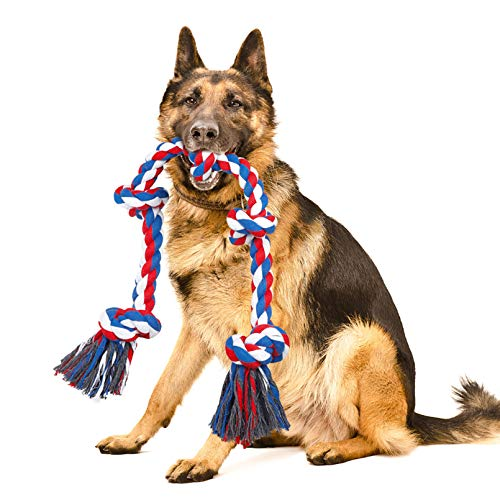 NEOROD Dog Rope Toys for Aggressive Chewers Tough Cotton Rope Interactive Chew Toys for Medium Large Breed Dogs Tug of War 3 Feet 5 Knots Indestructible Durable Giant Rope Toy(Red-XL)