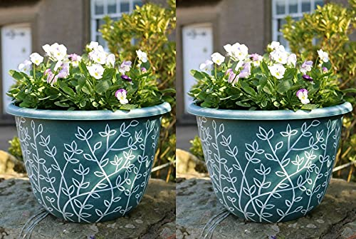 2 x 31cm Large Round Plastic Serenity Garden Plant Pot Flower Pot Planter Outdoor Green With White...