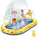 AOLUXLM Tappetino Gioco d'Acqua per Bambini Piscina Gonfiabile,170cm Splash Play Mat Gioco di Spruzzi d'Acqua Tappetino Gonfiabile,Giochi da Giardino