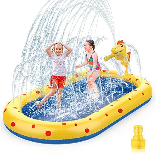 AOLUXLM Splash Pad,Piscina para NiñOs, Actividades Juegos Aire Libre NiñOs Familiares/Playa/JardíN Juego De Verano (Dinosaurio rociando Agua)