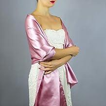 Stole donna satin scialli vestito da sposa nuziale poncho rosa mauve