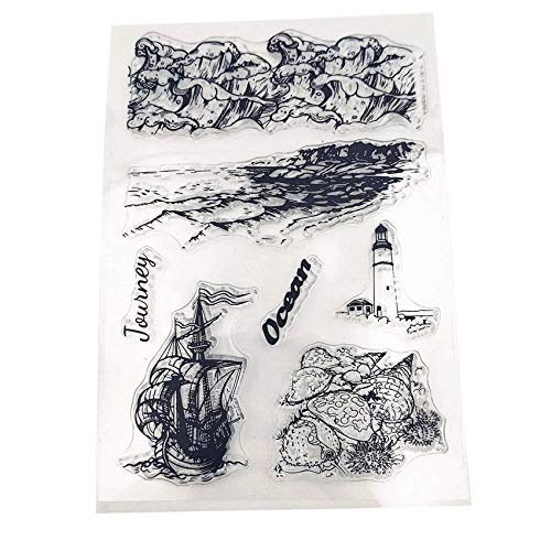 Coastline Ocean Waves Sailing Conch Clear Stamps for Crafting Card Making Travel Journey Clear Rubber Stamps Block Set
