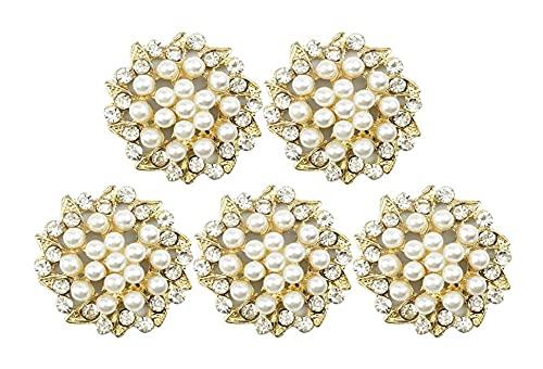 LIXBD 15 Stück Strass-Knöpfe Verzierungen flache Rückseite Perlen Blume Knöpfe Brosche Anhänger für Schmuckherstellung Hochzeit DIY Zubehör Gold (Farbe: Gold)