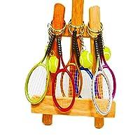 テニス グラシアス キーホルダー6個セット カラフルテニスラケットとテニスボールのダブルキーホルダー