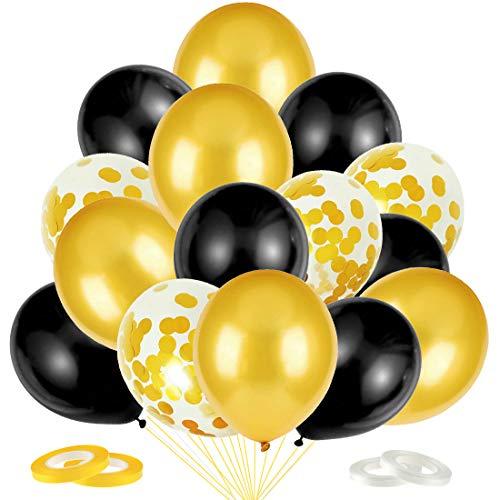 Luftballons Schwarz Gold Ballons, 60 Stück Schwarz Gold Konfetti Luftballons, Latex Helium Luftballons für Geburtstag Silvester Karneval Junggesellinnenabschied Hochzeit Graduierung Party Dekoration