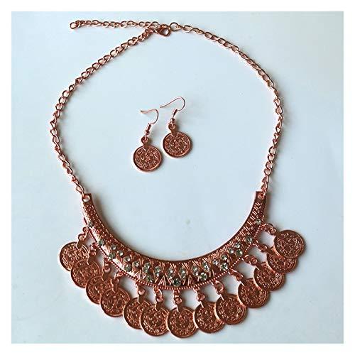 LPZW Bohemian Gypsy Coin Colgante Tribal Charms Indian Declaración de Borla Collar étnico Tallado Monedas Nice Chokers Collares para Mujeres (Metal Color : SKU2615Rosegold)