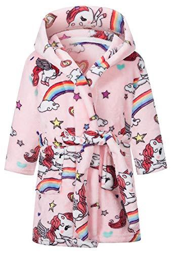 Boys Girls Bathrobes Soft Hooded Sleepwear Robe(5T, Pink Pony)