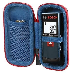 co2CREA Duro Viajar Caso Cubrir para Bosch Professional Medidor láser de distancia GLM 20(Negro/Cremallera roja) (negro/cremallera roja)