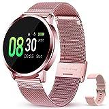 GOKOO Orologio Intelligente Donna Rosa Smart Watch Acciaio Fitness Impermeabile IP67 Braccialetto Sportivo Intelligente Monitoraggio del Sonno Cardiofrequenzimetro Calorie del Pedometro