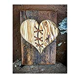 Escultura de madera cosida de cuero de corazón roto, decoración de pared, regalo, adornos tallados a mano, modelo decorativo de arte moderno para el hogar, cocina, bar, taller, café ( Color : C )