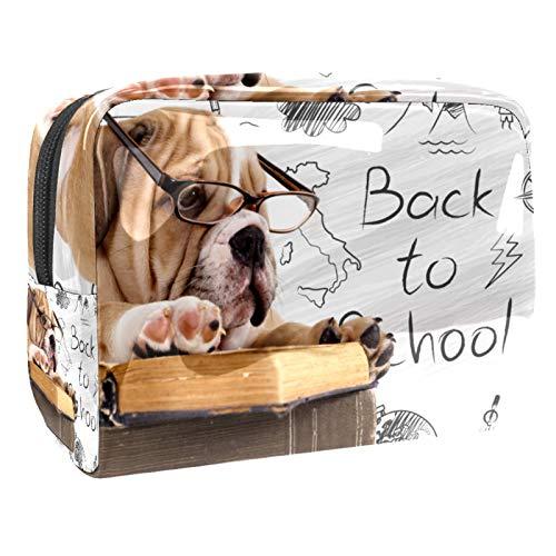 Neceser de Maquillaje Estuche Escolar para Cosméticos Bolsa de Aseo Grande Perro con Gafas Leyendo