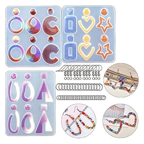 YAOYAN Juego de 123 piezas de resina para pendientes con forma de anillo de resina epoxi, con ganchos para pendientes, para fabricación de joyas, accesorios de resina de moldeado, llavero.