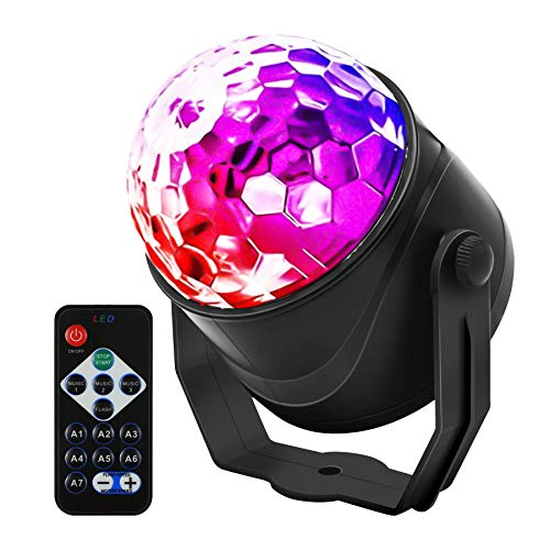 Sound Activated Party Lights with Remote Control Dj Lighting, RGB Disco Ball, Strobe Lamp 7 Modes Stage Par Light for Home Room Dance Parties Birthday DJ Bar Karaoke Xmas Wedding Show Club Pub