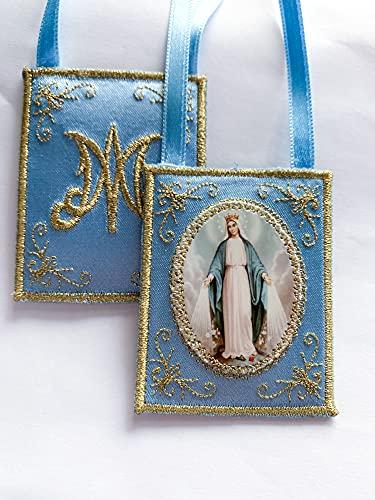 Escapulario Virgen Milagrosa decorativo color azul
