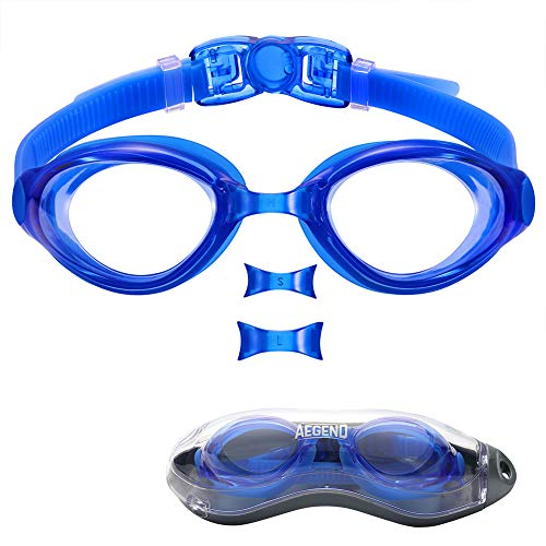 aegend Swim Goggles, Swimming Goggles of Flat Lens Replaceble Nose Piece for Men Women Adult Youth, Anti-Fog UV Protection Leak-Proof Triathlon Goggles with Protection Case, Blue