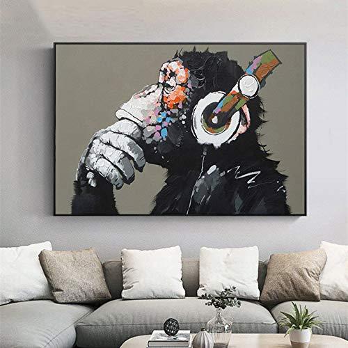 ganlanshu Poster Tier AFFE Leinwanddruck Ölgemälde modernes Denken und Kopfhörer Wandbild Wohnzimmer Dekoration Malerei rahmenlose Malerei 50cmX75cm