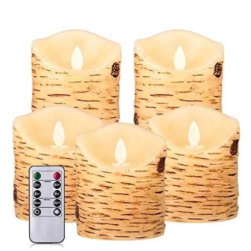 Aku Tonpa - Set di candele a forma di corteccia di betulla senza fiamma, funzionamento a batteria, in vera cera tremolante, con telecomando e timer per 24 ore, confezione da 5