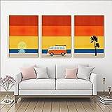 SHKJ Vacaciones Verano Colorido Paraíso Tropical Viajes Aventura Impresiones Palm Retro Camper Van Volkswagen Fan Poster Dormitorio Decoración 60x90cm / 23.6'x35.4 X3 Sin Marco