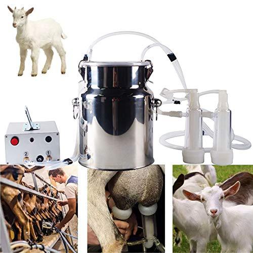 YDDHQ Ordeñadora de Cabras Portatil, Máquina de Ordeño de Ovejas Electrica Bomba de Impulsos de Vacío con Cubo de Acero Inoxidable 7L y Cepillo de Limpieza, (para Cabras, Enchufe de la UE)