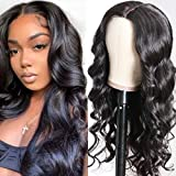 UNice 2x5 inch Deep Parting Space PU Silk Base Lace Wigs Human Hair Body Wave Wig Middle Part. 150% Density Brazilian Remy Hair Wear and Go Wig for Women 24inch