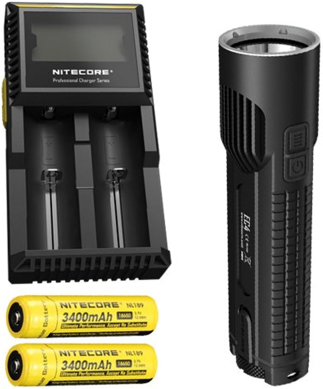 Bundle  Nitecore EC4 1000 Lumen XM-L2 U2 LED Flashlight w D2 Charger & 2x NL189 Batteries