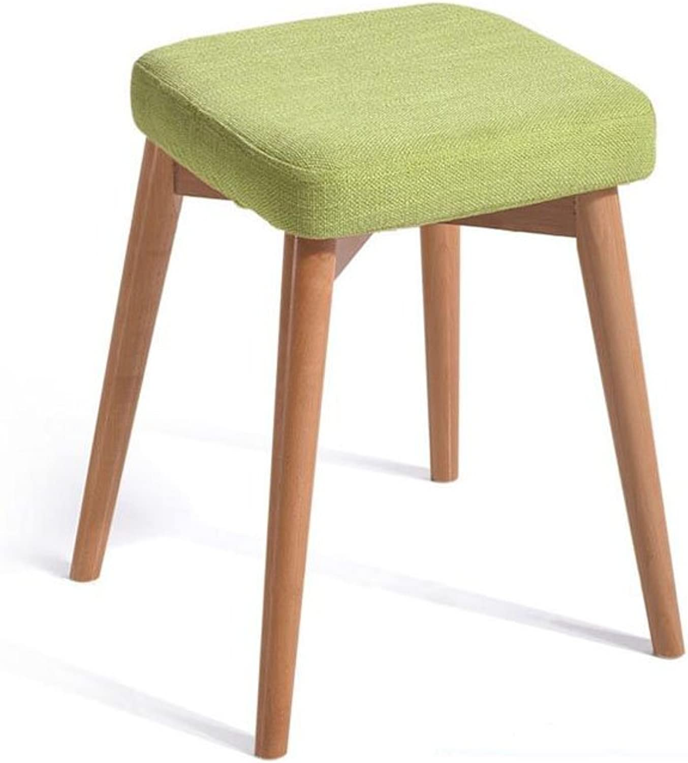 CJC Wooden Stool Household Removable seat Cover Solid Wood Can be Stacked Home Office Furniture Kitchen (color   1)