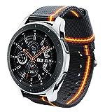 Estuyoya - Pulsera de Nailon Compatible con Samsung Gear S3 Frontier/Classic/Galaxy Watch 46mm Colores Bandera de España 22mm Ajustable Transpirable Deportiva Casual Elegante - Lineblack
