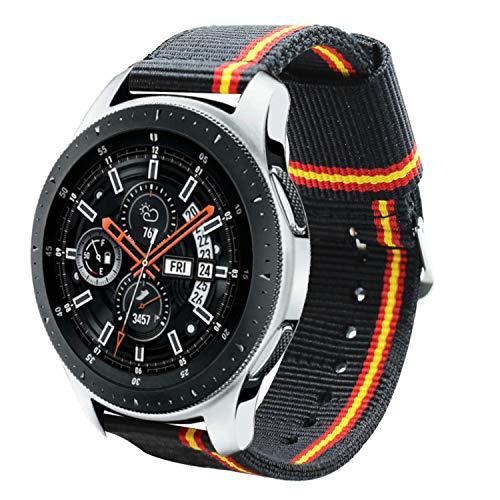 Estuyoya - Pulsera de Nailon Compatible con Samsung Galaxy Watch 3 45mm/ Gear S3 Frontier/Classic/Colores Bandera de España 22mm Ajustable Transpirable Deportiva Casual Elegante - Lineblack