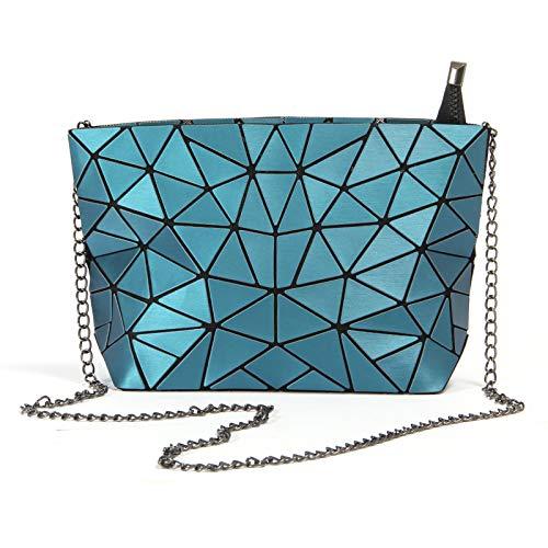 Hot One Geometrische Umhängetasche Kette Umhängetaschen für Damen, Damenhandtaschen (#5 Metallisch Blau)
