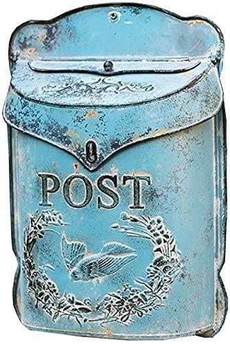 NBALL-TT Buzones de Montaje de Pared Azul Buzón de Correo Postal Colgante de Fondos de Pared para la Oficina en casa Interior al Aire Libre