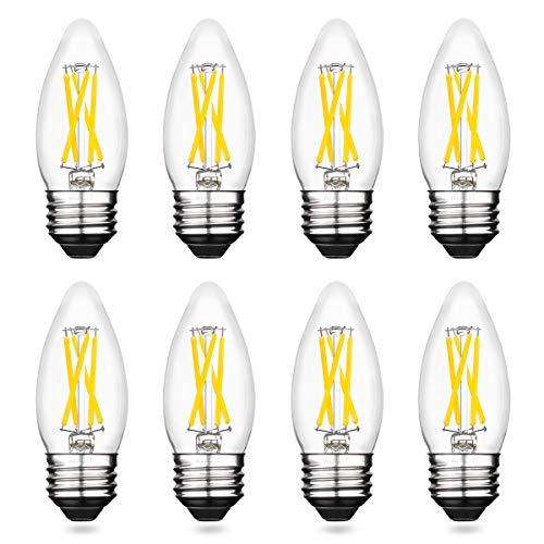 AIELIT B11 Light Bulb Dimmable, Bright White 5000K, 4W Candle LED Bulbs 40 Watt Equivalent, E26 Candelabra Filament Bulb for Bedroom Living Room Kitchen Chandelier, Ceiling Fan, Pendant Lights, 8 Pcs