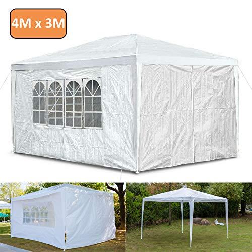 Autofather - Carpa de jardín (3 x 4 m, impermeable, con 4 paneles laterales, protección UV, impermeable, para jardín, acampada, bodas al aire libre, color blanco