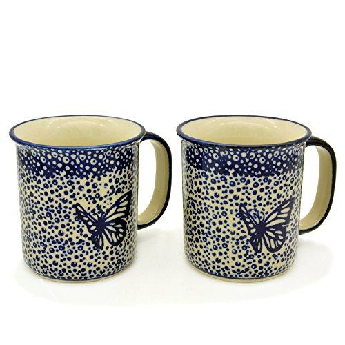 Bunzlauer Keramik Becher gerade, 220 ml, 2er Set (Dekor Blauer Falter)