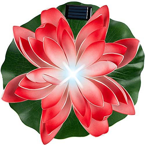 alles-meine.de GmbH Solar - LED Licht - schwimmende Seerose - rot & weiß - Ø 29 cm - Leuchte - Blume Blüte - Solarblume - Garten Wetterfest für Innen Außen - Wasser - Teich - Tei..